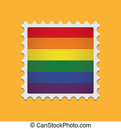mail stamp with a gay pride flag
