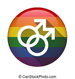 Icon with a gay pride flag - Illustration of an isolated...