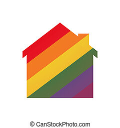 House with a gay pride flag - Illustration of an isolated...