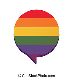 Comic balloon with a gay pride flag - Illustration of an...