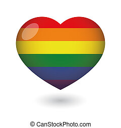 heart with a gay pride flag - Illustration of an isolated...