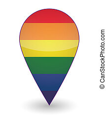 Map mark with a gay pride flag - Illustration of an isolated...