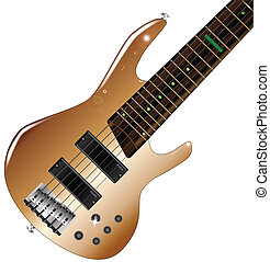 Modern Bass Guitar - A generic six string wooden body bass...