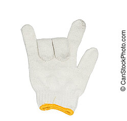 white gloves on a white background show the signal of love