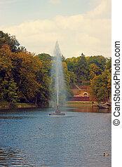 The Snake fountain. Sofiyivsky Park located in Uman,...