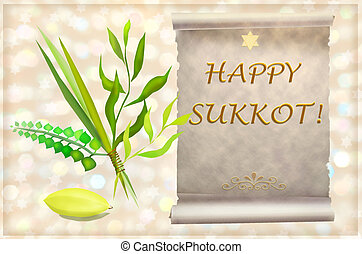 symbols and attributes of Jewish holiday Sukkot - palm,...