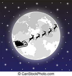 santa claus rides on deer at night