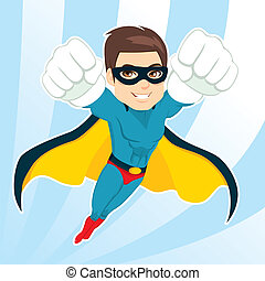 Superhero Man Flying - Illustration of handsome muscular...