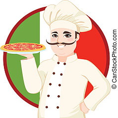 Italian Mustache Pizza Chef