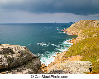 Lands End Cornwall - On the dramtic coastpath between Lands...
