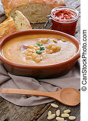 Beans soup - Serbian traditional beans soup in the...