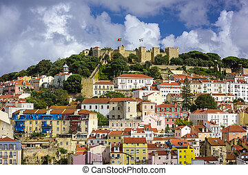 Lisbon, Portugal Castle - Lisbon, Portugal skyline at Sao...
