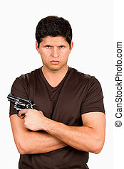 Gang Member With Gun - Serious and menacing looking gang...