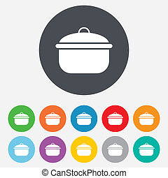 Cooking pan sign icon Boil or stew food symbol Round...