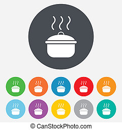 Cooking pan sign icon. Boil or stew food symbol. Round...
