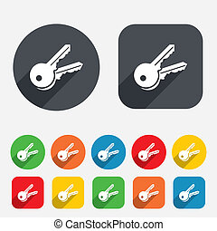 Keys sign icon Unlock tool symbol Circles and rounded...