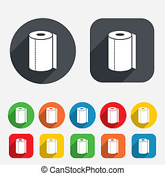 Paper towel sign icon. Kitchen roll symbol. Circles and...