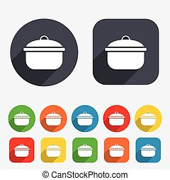 Cooking pan sign icon Boil or stew food symbol Circles and...