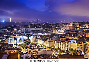 Lisbon, Portugal Skyline at Night - Lisbon, Portugal skyline...