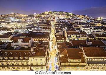 Lisbon, Portugal Castle - Lisbon, Portugal skyline at night