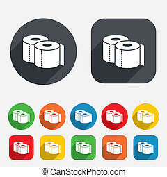 Toilet papers sign icon. WC roll symbol. Circles and rounded...