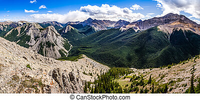 Panoramic view of Rocky mountains range, Alberta, Canada -...