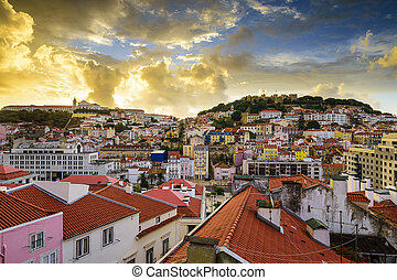 Lisbon, Porgual Dawn Skyline towards Sao Jorge Castle