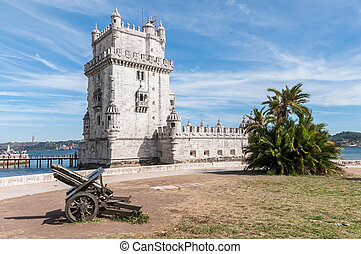 Belem Tower in Lisbon - Tower of Belem on the bank of the...