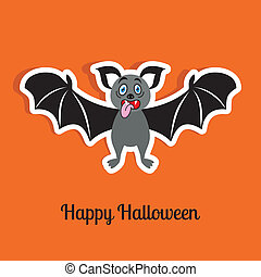 Halloween card - Happy halloween orange card with funny...