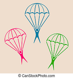 Parachute jumper icon - Colorful vector parachute jumper...