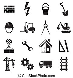 Construction icons - Black vector abstract construction...