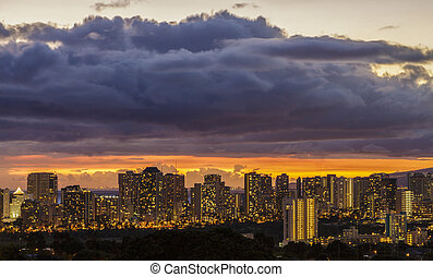 Waikiki and Honolulu Lights - The lights of Waikiki and...