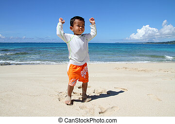 Japanese boy on the beach 2 years old