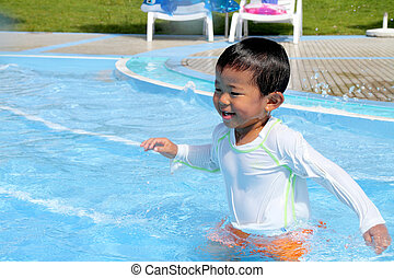 Swiming Japanese boy 2 years old
