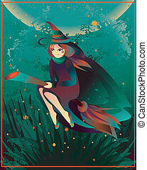 Halloween witch on a broomstick