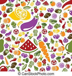 fruits, légume, seamless, modèle