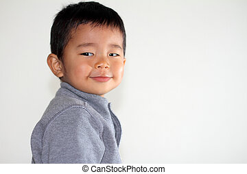 Smiling Japanese boy 2 years old
