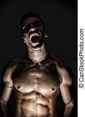 Iluminado, excitado, Lobisomem, homem, abertura, seu, boca
