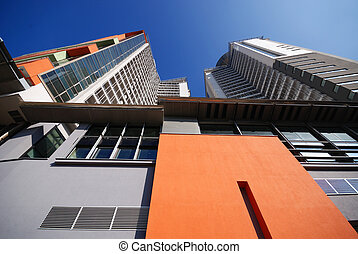 modern building at sunny day and clear blue sky