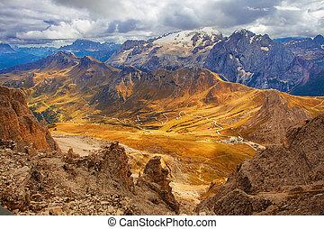Italy - Dolomites. Mountains view from Pordoi on Marmolada