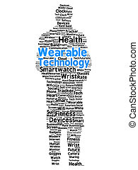 Wearable technology word cloud in the shape of a man with...
