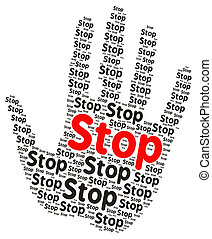 Stop word cloud in the shape of a open palm