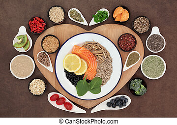 Healthy Heart Food - Large health food selection in bowls on...