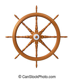 ship steering wheel - Wooden ship steering wheel isolated on...