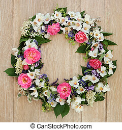 Summer Flower Wreath - Summer flower wreath over light oak...