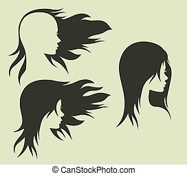 Women's hairstyle with her head