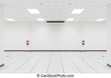 Empty room - White empty room with tile floor.