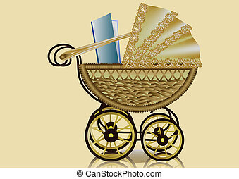 pram and book. retro styled baby carriage