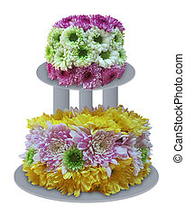 Flower Cake made from fresh flowers isolated on white...