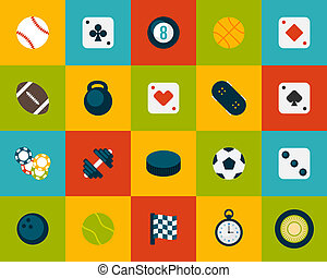 Flat icons set 12 - sport and game collection